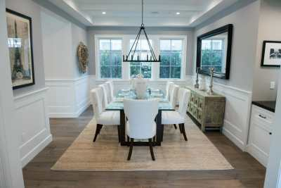 Pecan flooring, rug and dinner table
