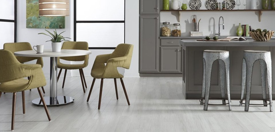 Grey Flooring Kitchen Chairs with Grey Cabinets